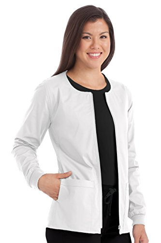 Med Couture Women's In-Seam Zip Front Solid Warm Up Scrub Jacket X-Small White