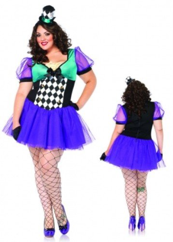 Leg Avenue Women's Plus-Size Miss Mad Hatter Costume, Black/Purple, 1X-2X -