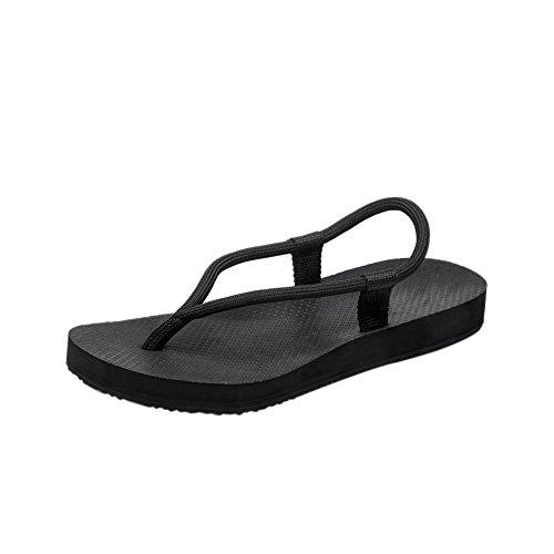Hommes Femmes Couple Léger Simple Été Coloré Sandale Plate Pantoufle Tressée Corde Tongs Pour Plage Salle De Bain Noir