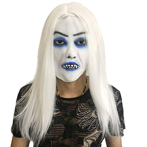 Women Girls Horror White-haired Masks Halloween Cosplay Costume Props Scary Mask