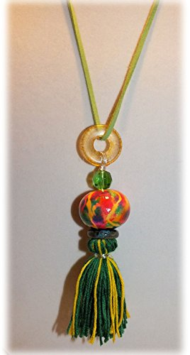 Hand Painted Ceramic Tassel (Tie dyed ceramic tassel necklace with Czech glass bead and ceramic donut on leather cord)