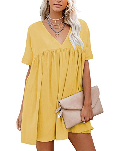 YIBOCK Women's Short Sleeve V Neck Pleated Loose Babydoll Solid Color Tunic Mini Dress -