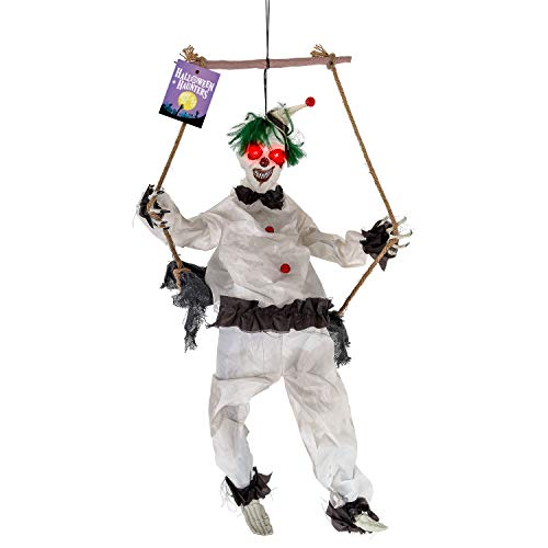Halloween Haunters Animated 4 Foot Hanging Swinging Circus Clown Ghost Reaper Zombie with Moving Kicking Legs Prop Decoration - Rope Swing, Scary Laugh Sounds, Flashing Evil Red LED Eyes -