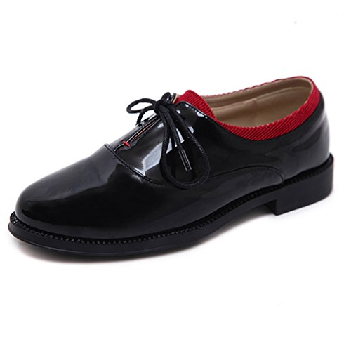 Vintage Oxford Hoxekle British Toes Low Top Black Oxford Shoes Perforated Color Round Womens Style Spell Smooth PnqxFPvWr