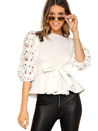 Romwe Women's Elegant Cut Out Belted Knotted Peplum Top Blouse Top White Small ()