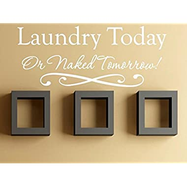 Vinylsay 0551.Laundry-M.White -33x13.5 Wall Decal - Laundry Today or Naked Tomorrow, 33 x 13.5-Inch, Matte White