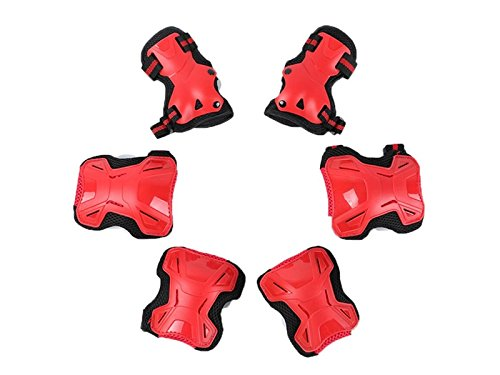 Wetietir Skating 6 Pcs/Set Kid's Protective Gear Set with Elbow Knee Handguard for Roller Skating Skateboard BMX Scooter Cycling (Red M) for Protection by Wetietir