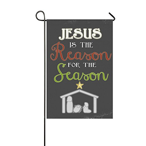 Small Mim Jesus Is The Reason For The Season Garden Flag Holiday Decoration Double Sided Flag 12.5