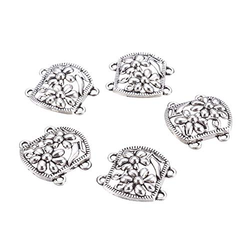 (PH PandaHall 10PCS Flower Antique Silver Tibetan Style Multi-Strand Links Alloy Charm Links for Bracelet Necklace Jewelry Making 24.5x24x3mm, Hole 1.5mm)
