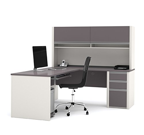 BESTAR Connexion L-Shaped with Hutch Workstation Kit, Slate/Sandstone - Bestar Office Space Corner