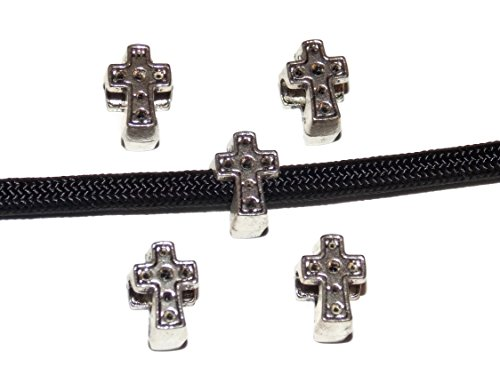 Midwest Cord 10 Cross Paracord Metal Beads with 4.5mm Hole for 550 Paracord Crafts and Bracelet Making -