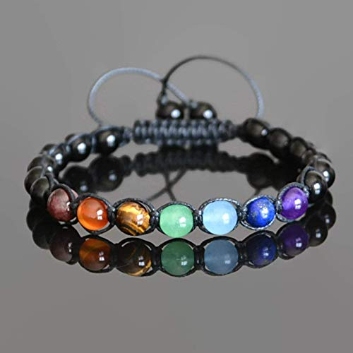 - 7 Chakra Shamballa Beaded Mens Bracelet 8 mm gemstone beads Garnet Carnelian Tiger Eye Aventurine Aquamarine Lapis Lazuli Amethyst Black Onyx Bracelet for Men