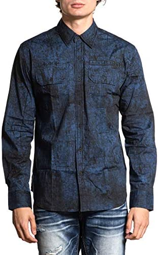 Affliction Men`s Edges Long Sleeve Woven Shirt