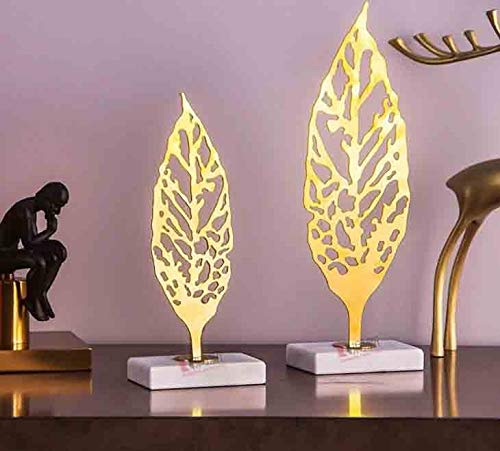 Bjzxz Light Luxury Jazz White Marble Ornaments Plant Leaves Pure Copper Crafts Creative Home Decoration
