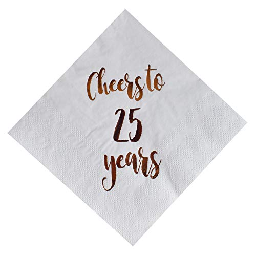 - Cheers to 25 Years Cocktail Napkins, 50-Pack 3ply White Rose Gold 25th Birthday Dinner Celebration Party Decoration Napkin