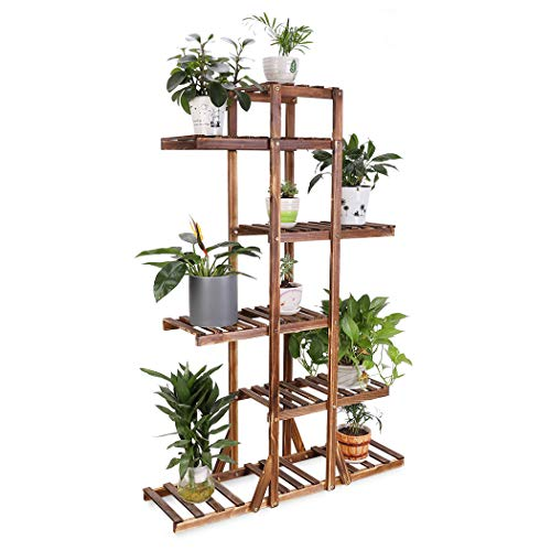 6 Tier Wooden Plant Stand Carbonized Wood Plant Stand Holder Flower Display Stand Flower Pot Rack Bonsai Display Bench Patio Shelf Porch Dining Room Living Room Bathroom Indoor Outdoor, 52 inches (Plant Bench)