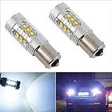 FidgetFidget LED White Car Tail Fog Reverse Light Bulb Headlamp 2X 80W 12V 1156 BA15S 16-
