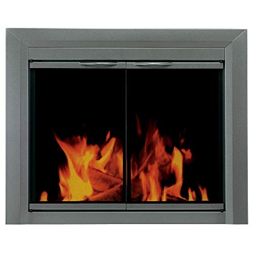 (Pleasant Hearth CB-3302 Colby Fireplace Glass Door, Sunlight Nickel, Large)