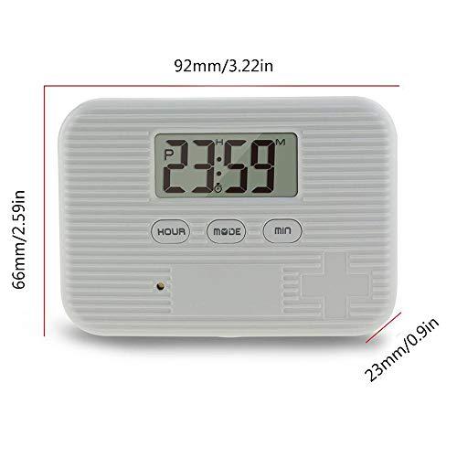KOBWA - Caja de almacenamiento para pastillas de medicina, digital, ligera, con 5 alarmas de temporizador, pastillero de viaje 3