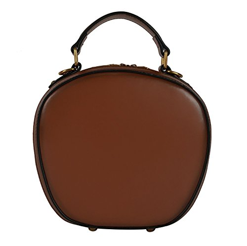 4 Leather Colors QueenGlobal Brown for Crossbody Round Women Purse Handbags Vintage Bags Genuine Satchel Top Handle nnq1twP7Fr