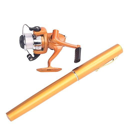 Mini Aluminum Saltwater Fishing Tackle Pocket Pen Fishing Rod Pole with Reel (Yellow)