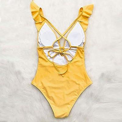 One Piece Swimsuit, HOSOME Women Solid High-Waisted Bikini One Piece Push-Up Swimsuit Bathing: Clothing