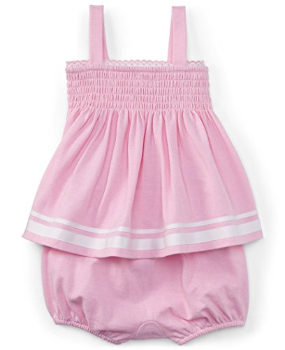 Ralph Lauren Baby Girls' Oxford Smocked Cotton Top & Bloomer Set (24 Months, Carmel Pink / (Smocked Bloomer Set)