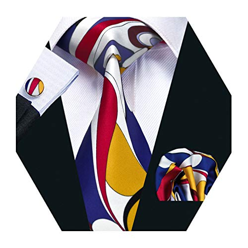 - Barry.Wang Mens Designer Silk Tie Set Yellow Blue White Necktie Pocket Square Cufflinks