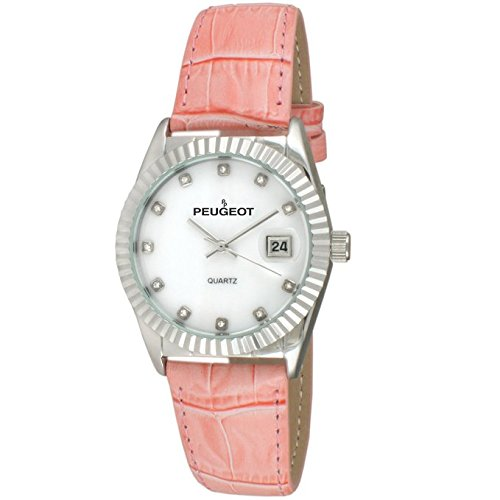 Peugeot Women's Quartz Metal and Leather Dress Watch, Color:Pink (Model: 3045PK)