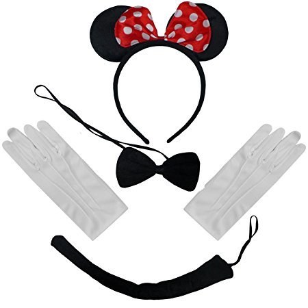 Black Red White Polkadot Minnie Mouse Ears Headband Bow Tie Tail + Gloves Set from DangerousFX