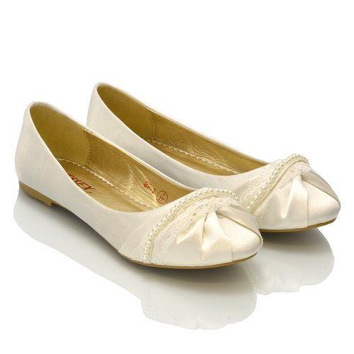 8 Avorio 3 Taglia 7 Damigella Piatto Balletto Satin Pumps Ladies D'onore Sposa Scarpe 4 Da On 5 Slip Pearl 9 6 Donna Lace 6nZqRCBw4