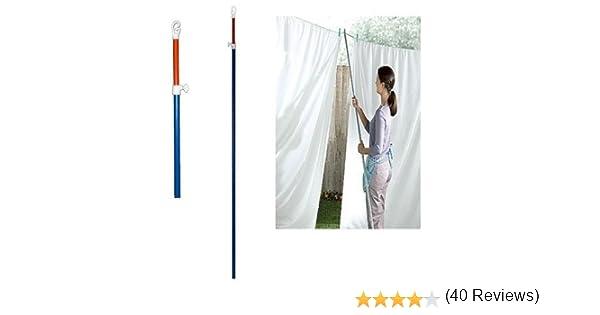 3 líneas para tendedero, telescópicas y resistentes, de metal, con soporte de barra exterior ajustable, extensible hasta 2,4 metros: Amazon.es: Hogar