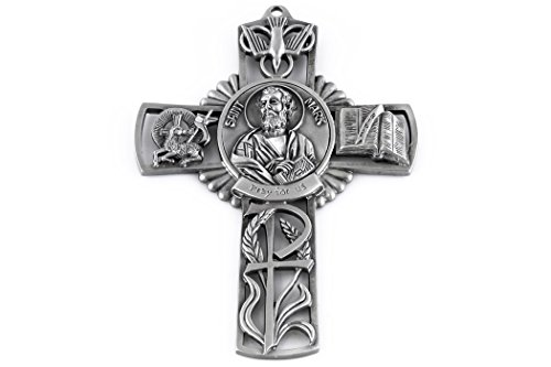 Pewter Catholic Saint St Michael The Archangel Pray for Us Wall Cross, 5 inch