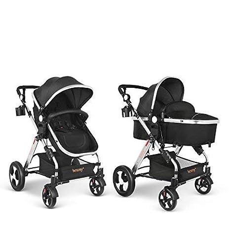 besrey Silla de Paseo Cochecito para Bebé Carrito Baby Jogger Carriage Negro Aprobado prueba de seguridad EN1888: 2012