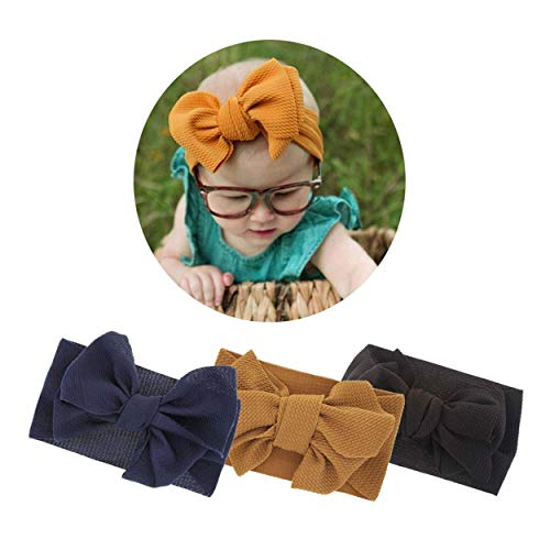 2019 New Baby Girls Super Stretchy Nylon Headbands Soft Turban Big Bow Headwrap for Toddler Babies (2019-B 3 Pack) (Best New Bows 2019)