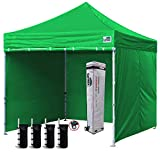 Eurmax 10'x10' Ez Pop-up Canopy Tent Commercial Instant Canopies with 4 Removable Zipper End Side Walls and Roller Bag, Bonus 4 SandBags(Kelly Green)