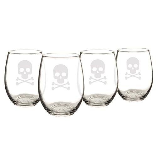 Cathy's Concepts Skull and Crossbones Stemless Wine Glasses, Set of 4, -