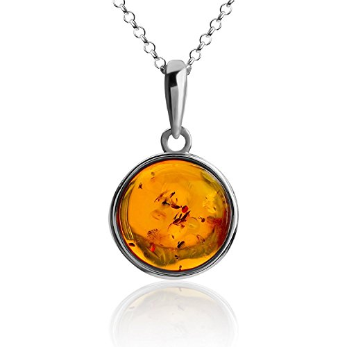 - Amber Sterling Silver Perfect Round Pendant Necklace Chain 18