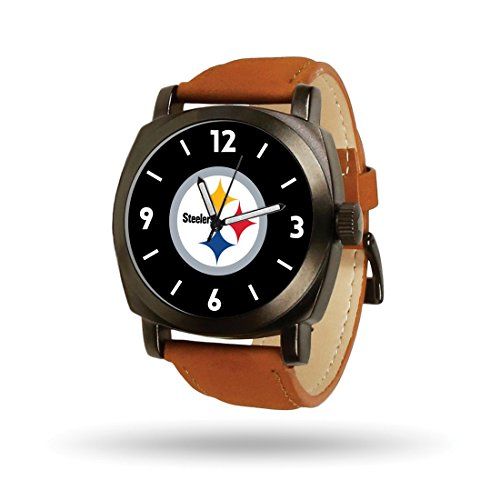 Roy Rose Jewelry NFL Pittsburgh Steelers Football Logo Cheer Quartz Watch Brown