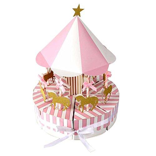 Favourall giostra carosello Baby Shower Candy scatole vintage stile caramelle scatole regalo per compleanno festa di nozze decorazioni rosa