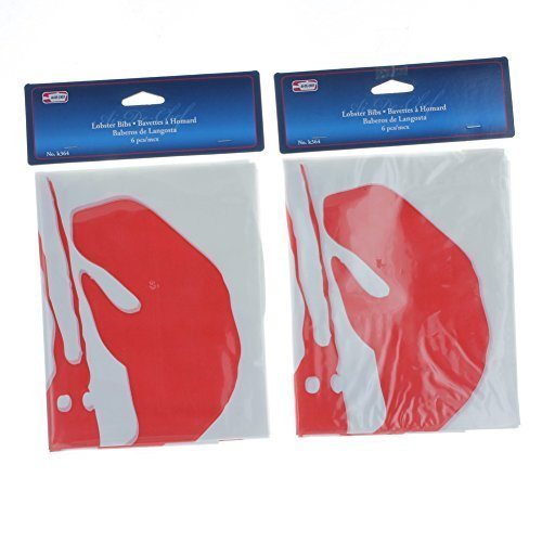 Symak k0364-2PK Lot of 12 Disposable Lobster Plastic Seafood Poly Bib, Silver ()