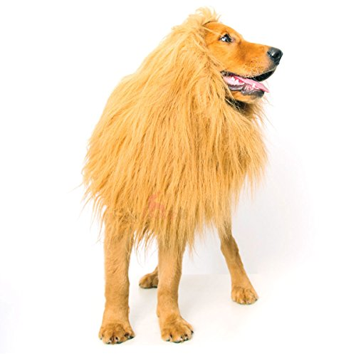 Picture of Dogloveit Lion Mane for Dog, Dog Costume with Gift [Lion Tail] Lion Wig for Dog