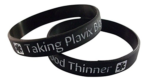 2-taking-plavix-blood-thinner-medical-id-alert-silicone-wristband-bracelets-size-l