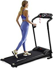 Goplus Compact Folding Treadmill for Home, Electric Walking Running Machine, Low Noise, Built-in 2 Workout Mod