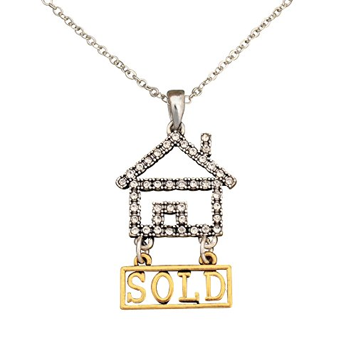 Lola Bella Gifts Crystal Real Estate Agent Realtor Pendant Necklace with Organza Pouch and Gift - Packaging Keller