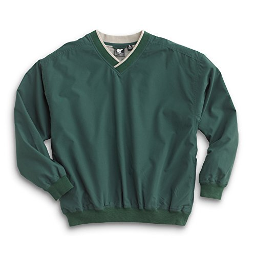 Men's Fully Lined V-Neck Golf and Wind Shirt - Forest Green/Putty, X-Large