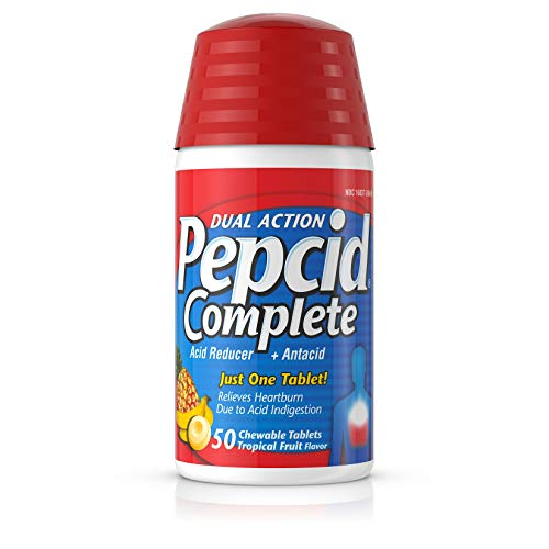 - Pepcid Complete Acid Reducer + Antacid Chewable Tablets for Heartburn Relief, Tropical Fruit, 50 ct.