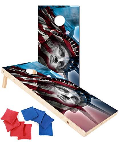 (EXERCISE N PLAY Premium Wood Cornhole Set,Portable Custom Regulation Size Cornhole Boards 8 Cornhole Bean Bags (4ftx2ft) (Statue of Liberty))