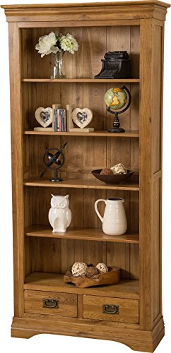 French Rustic Large Solid Oak Bookcase With Drawers Office Furniture (890 x 330 x 1,900 cm)