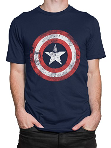 Marvel Captain America Mens' Avengers Captain America T-Shirt, Blue, Large